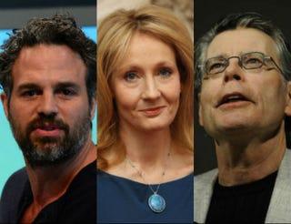 Mark Ruffalo; J.K. Rowling; Stephen KingEMMANUEL DUNAND/AFP/GETTYIMAGES; DAN KITWOOD/GETTY IMAGES; EMMANUEL DUNAND/AFP/GETTY IMAGES