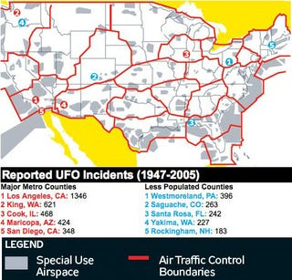 Illustration for article titled A Map of UFO Sighting Hot Spots in America