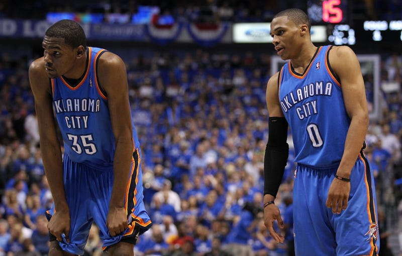 """Illustration for article titled Russell Westbrook And Kevin Durant Had An """"Altercation"""""""