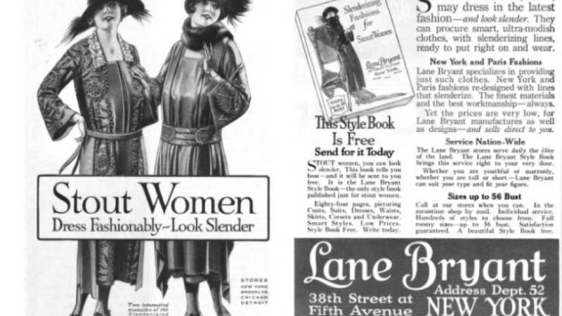 Illustration for article titled 1922 Ad Touts Lane Bryant's Offerings for 'Stout Women'