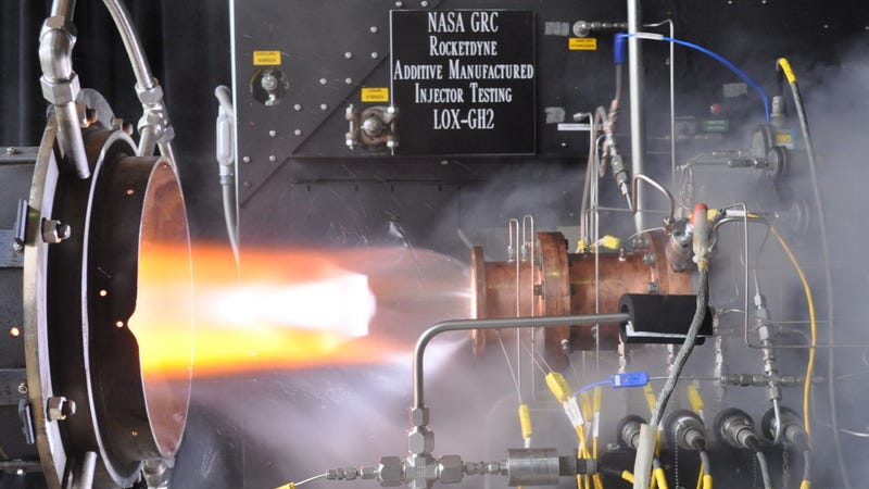 Illustration for article titled NASA's 3D-Printed Rocket Injector Test: A Beautiful Inferno