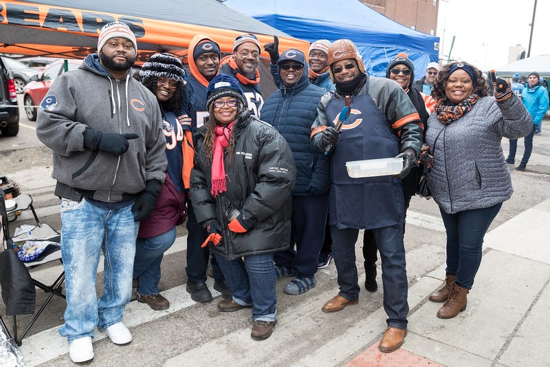 Chicago Bears fans tailgate prior to an NFL game between the Detroit Lions and the Chicago Bears at Ford Field on November 22, 2018 in Detroit, Michigan.