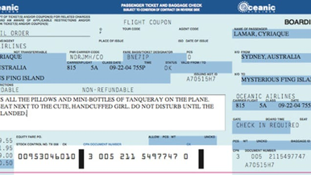 Make Your Own Oceanic Airlines Ticket For Tonightu0027s Lost Finale  Printable Fake Airline Tickets