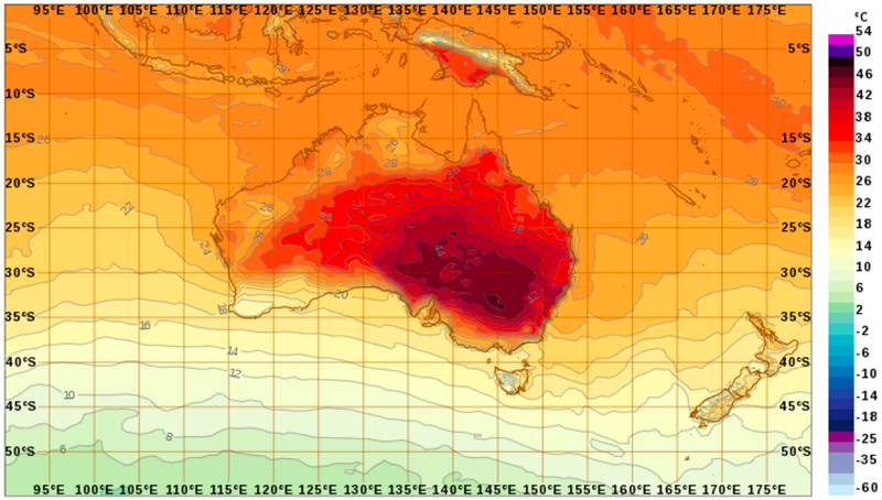 Scale at right is shown in Celsius. The darkest red ranges from 38 to 46 degrees C, or 100 to 116 degrees F. Image: Bureau of Meteorology