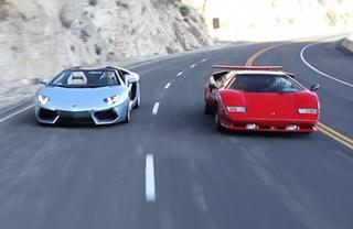 Illustration for article titled Video: Lamborghini Countach vs. Aventador Roadster