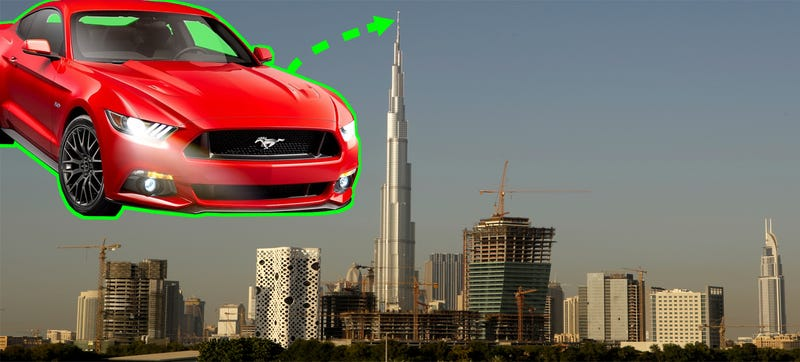 Illustration for article titled Ford Will Put A 2015 Mustang On The World's Tallest Building