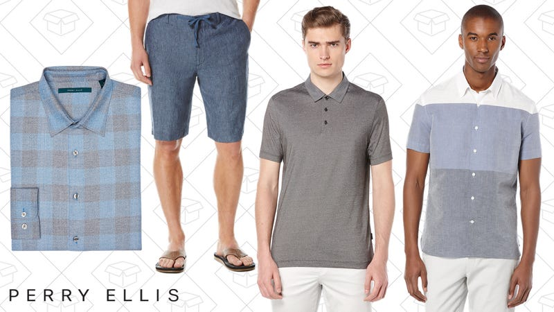 Large Buffalo Check Heathered Shirt, $42 | Linen Drawstring Short, $30 | Short Sleeve Fine Stripe Polo, $25 | Short Sleeve Linen Horizontal Stripe Shirt, $45