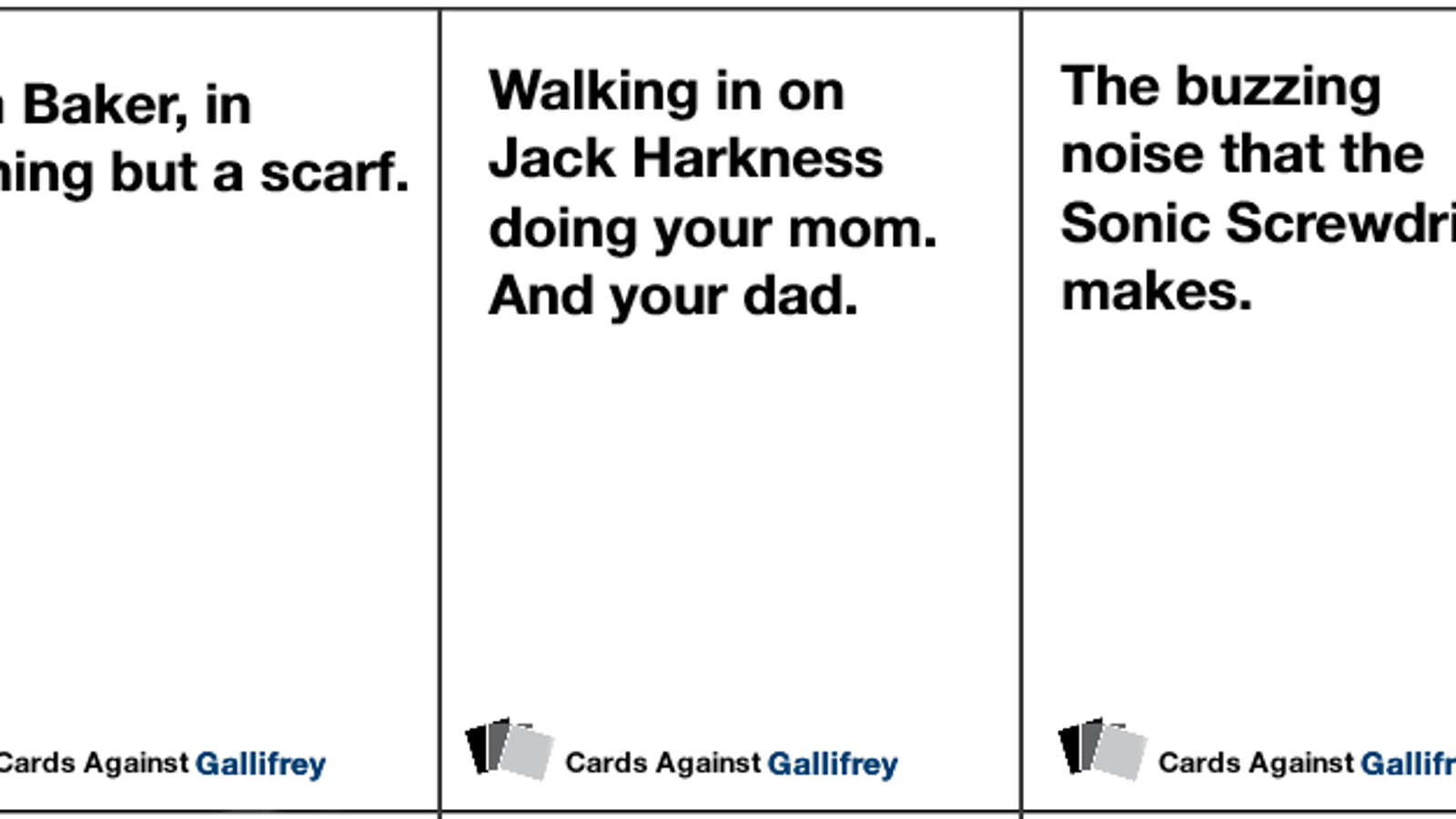 picture relating to Cards Against Humanity Printable Expansions known as Print out the Health practitioner Who model of Playing cards From Humanity
