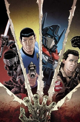 Illustration for article titled IDW's Infestation: Ghostbusters, G.I. Joe, Star Trek, and Transformers vs. Zombies