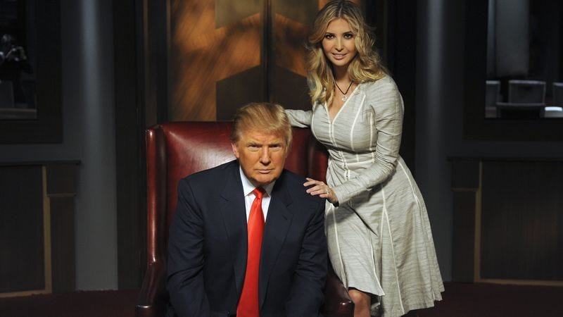Donald Trump and his daughter, whom he finds very attractive, on the set of The Apprentice. (Photo: Ali Goldstein/NBCU)
