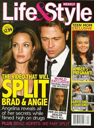Illustration for article titled This Week In Tabloids: Angelina Is A Pregnant Former Cokehead