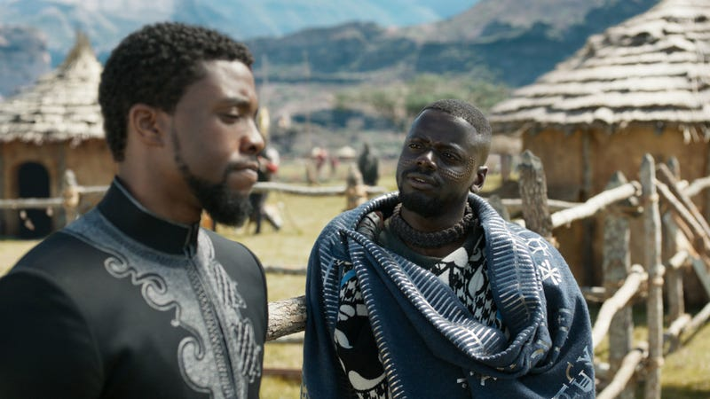 Chadwick Boseman and Daniel Kaluuya in Black Panther. Image: Disney