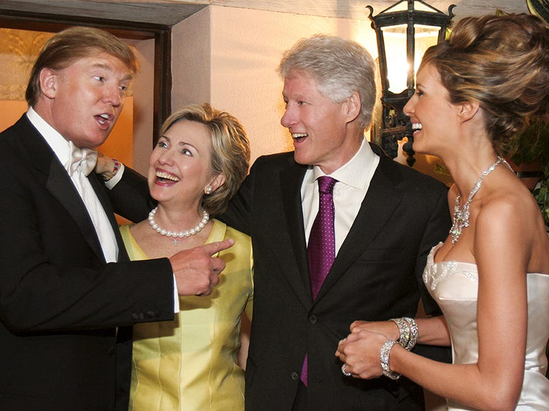 Hillary Clinton and Bill Clinton (center) at Donald and Melania Trump's wedding in 2005MARING PHOTOGRAPHY/GETTY Images