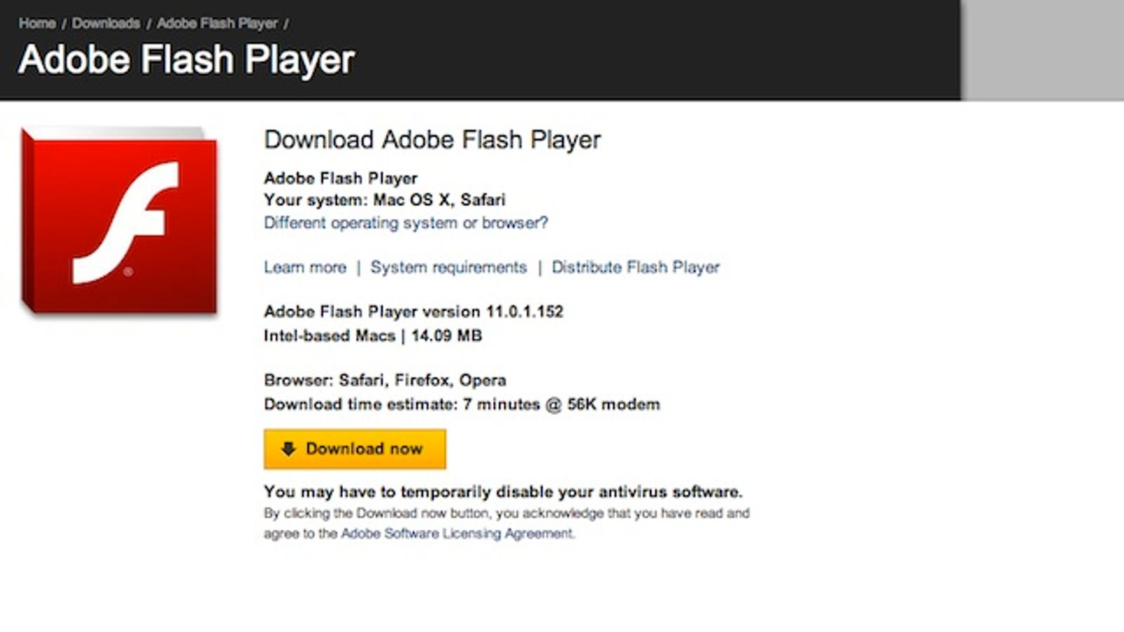adobe flash player 11 0 0 download