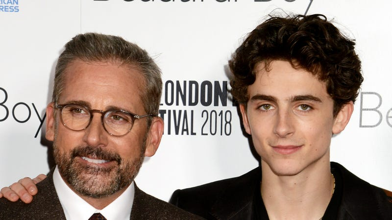 """Illustration for article titled Timothée Chalamet breaks it to Stephen Colbert that Steve Carell is now an internet """"sex icon"""""""