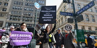 April protest in New York City for Reebok to fire Rick Ross (Slaven Vlasic/Getty Images)