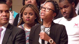 Ashley Overbey tells her story of being a victim of police brutality during a televised town hall discussion hosted by TV One's Roland Martin. Overbey was invited to speak during the panel discussion on police brutality in Baltimore May 5, 2015.Danielle Belton