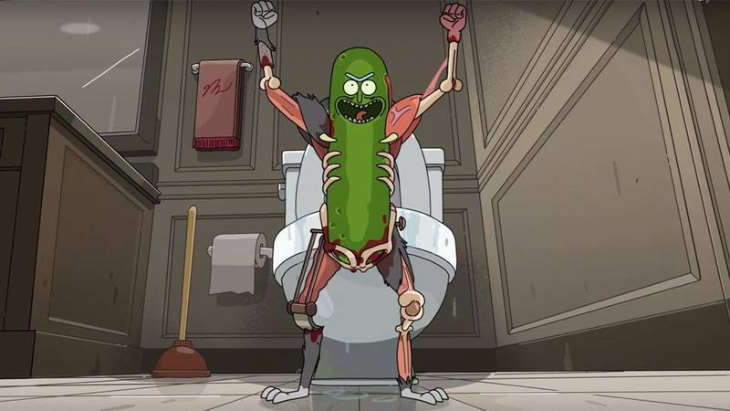 "A still from ""Pickle Rick,"" written by Jessica Gao."