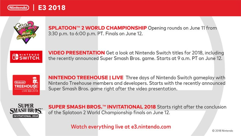 Illustration for article titled Nintendo's E3 2018 Schedule