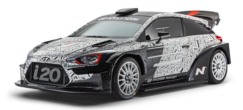 Illustration for article titled Marvel At The Wide Hips, Huge Wing And General Insanity Of Hyundai's 2017 i20 WRC Car