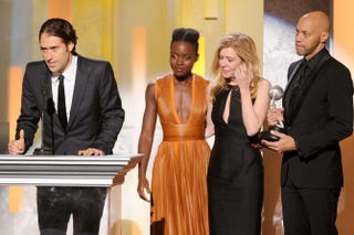 Producer Jeremy Kleiner, actress Lupita Nyong'o, producer Dede Gardner and screenwriter John Ridley accept the award for outstanding motion picture for 12 Years a Slave at the 45th NAACP Image Awards, Feb. 22, 2014, in Pasadena, Calif. Kevin Winter/Getty Images for NAACP Image Awards