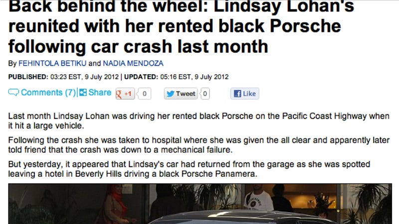 Illustration for article titled Lindsay Lohan's Porsche 911 Magically Transforms Into A Sedan