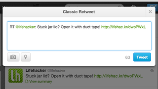 Illustration for article titled Classic Retweet Adds Old Retweeting Option to Twitter's Web Interface
