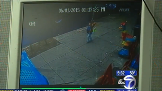 Footage of a 4-year-old boy who escaped with minor bruises and a few scratches after he was hit by an out-of-control car that jumped the curb in Brooklyn, N.Y., June 1, 2015WABC screenshot