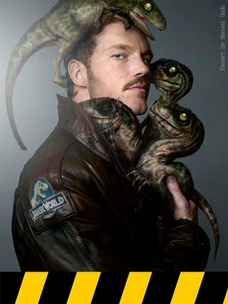 Illustration for article titled Chris Pratt Cuddles His Raptor Pack Babies In Jurassic World Fanart