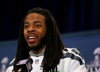 Richard Sherman of the Seattle Seahawks addresses the media about upcoming Super Bowl XLVIII at the Westin Hotel in Jersey City, N.J., Jan. 30, 2014.Elsa/Getty Images