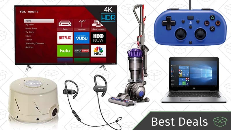 Illustration for article titled Thursday's Best Deals: 4K TVs, Refurbished Dyson Vacuum, Anker SoundBuds, and More