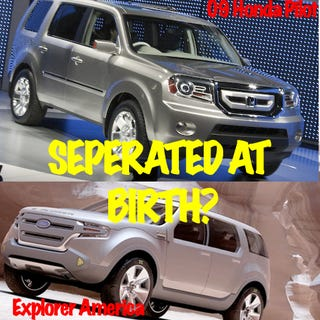 Illustration for article titled Detroit Auto Show: Honda Pilot And Ford Explorer America Long Lost Twins?