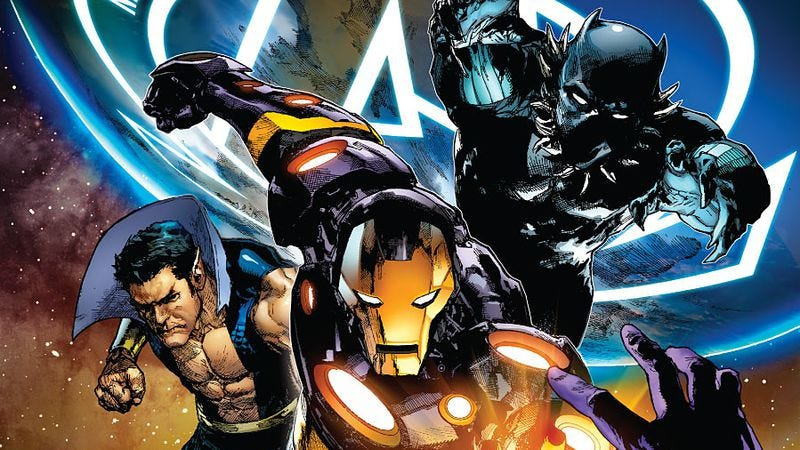 Illustration for article titled Jonathan Hickman does the Justice League in New Avengers #17