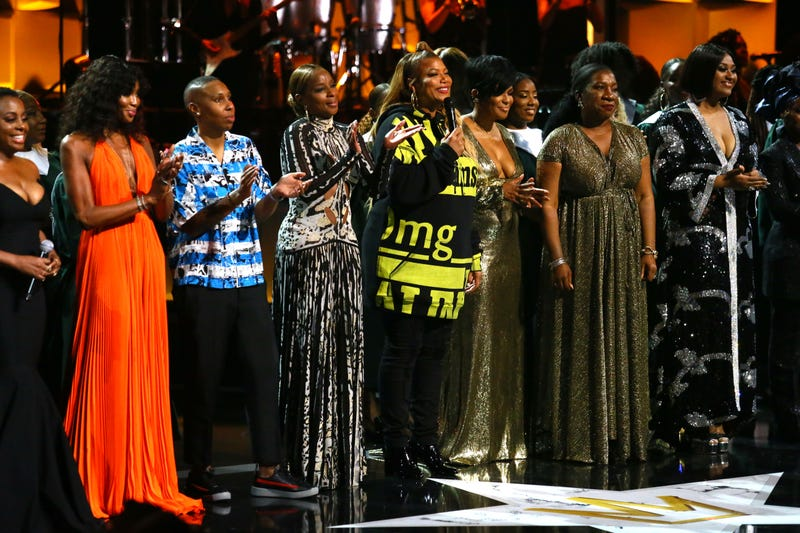 (L-R) Ledisi, Naomi Campbell, Lena Waithe, Mary J. Blige, Queen Latifah, Beverly Bond, Tarana Burke and Jazmine Sullivan onstage during the Black Girls Rock! 2018 Show at NJPAC on August 26, 2018 in Newark, New Jersey.