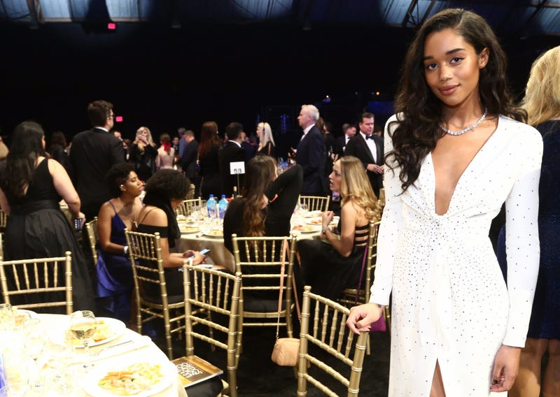 Laura Harrier in Louis Vuitton at the 24th annual Critics' Choice Awards at Barker Hangar on January 13, 2019 in Santa Monica, California.