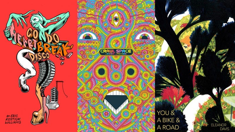Covers for Condo Heartbreak Disco, Crawl Space, and You & A Bike & A Road (Images: Koyama Press)