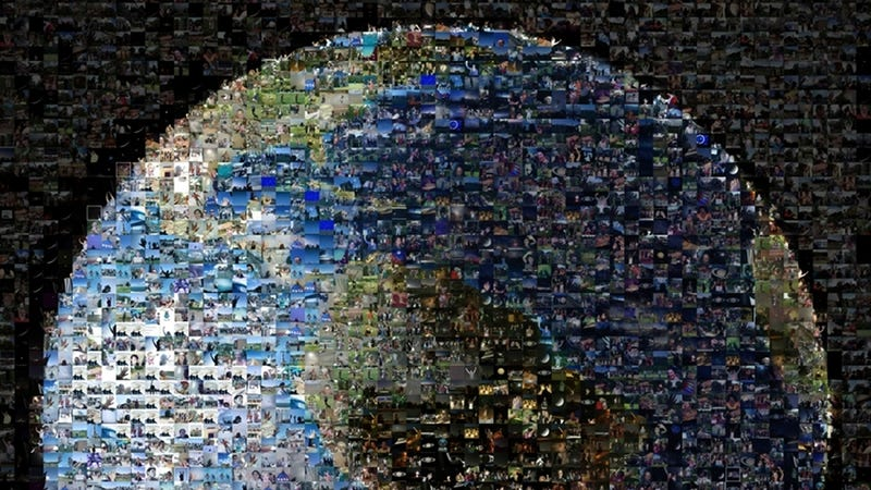 Illustration for article titled An Image of Earth Made From 1400 Photos of People Waving at Space