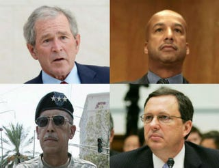 Top row: George W. Bush; Ray Nagin. Bottom row: Russel Honoré; Michael Brown.Top row: Kevork Djansezian/Getty Images; Chip Somodevilla/Getty Images.Bottom row: James Nielsen/AFP/Getty Images; Win McNamee/Getty Images.
