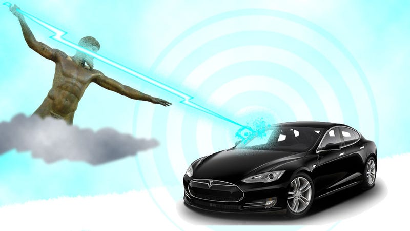 Illustration for article titled Here's What Happens When Lightning Strikes A Charging Tesla