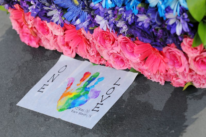 Flowers laid for the victims of the Pulse nightclub shooting in June 2016.