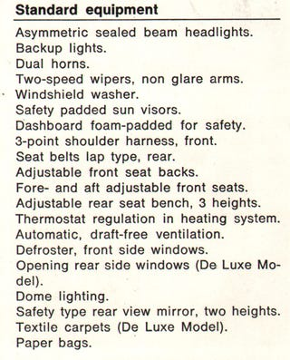 Illustration for article titled Weirdest item of standard equipment?