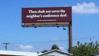 """Illustration for article titled Texas A&M Fans Provoke Baylor With Waco Billboard: """"Thou Shalt Not Covet Thy Neighbor's Conference Deal"""""""
