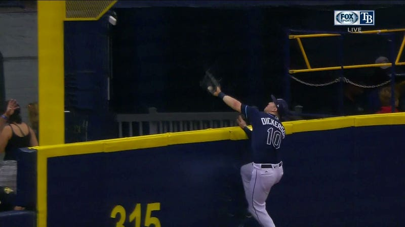 Illustration for article titled Rays' Corey Dickerson Reaches Over Wall To Rob Homer