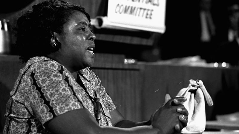 Fannie Lou Hamer speaks to Mississippi Freedom Democratic Party sympathizers outside the Capitol in Washington, D.C., on Sept. 17, 1965. (William J. Smith/AP Images)