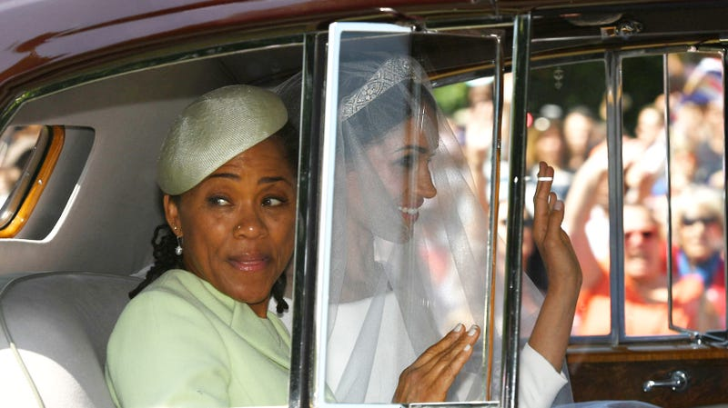 Meghan Markle (r) leaves the Cliveden House Hotel accompanied by her mother, Ms. Doria Ragland, ahead of her wedding to Prince Harry at St George's Chapel at Windsor Castle on May 19, 2018 in Windsor, England.
