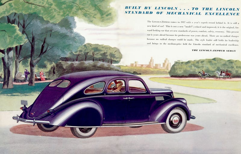Illustration for article titled Nothing like the Hindenburg to liven up the 1937 Lincoln Zephyr!