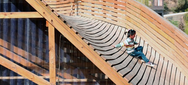 The Roof of This Sloped Library Doubles as an Awesome Slide