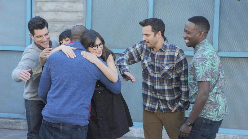 From left: Max Greenfield, Hannah Simone, Damon Wayans Jr., Zooey Deschanel, Jake Johnson, Lamorne Morris (Photo: Fox)