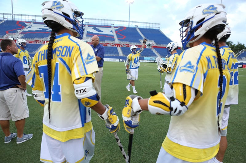 Lyle Thompson and Miles Thompson before a 2015 game for the MLL's Florida Launch.