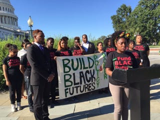 Members of Black Youth Project 100, the National Black Justice Coalition and other black millennial activists travel to Capitol Hill to lobby lawmakers Sept. 14, 2016.Lauren Victoria Burke